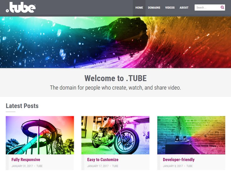 The .TUBE WordPress Theme is designed for people who create and share video, and also works great for photographers, journalists, and more. It provides a modern Booststrap-based layout with large featured images, and looks great on mobile, tablet, and desktop. Plus, the .TUBE Theme for WordPress has plenty of customization options, is child-theme-friendly, and includes tons of action hooks and filters for the more technically inclined.