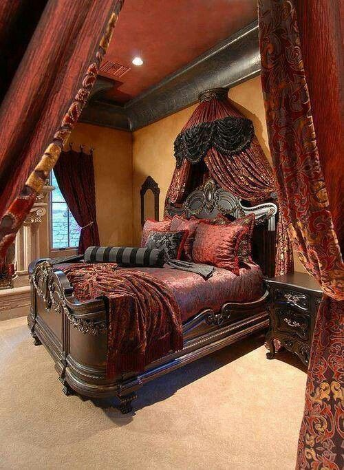 Old World Mediterranean bedroom, Persian plum, canopy, velvet and chenille bedding. damask draperies, Sahara gold faux finish walls, dark trim. DesignNashville.com bedding and draperies