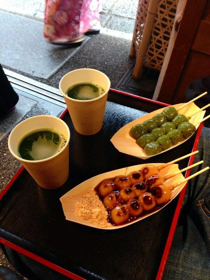 Mitarashi Dango, street food in Kyoto.