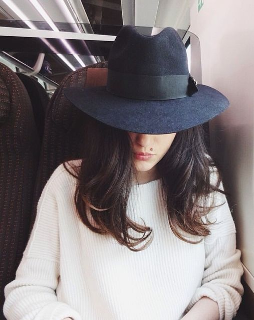 It's never too early to think 'Fall'.. I love this wide brimmed hat worn with loose curls and a cozy sweater for when the days get cooler.