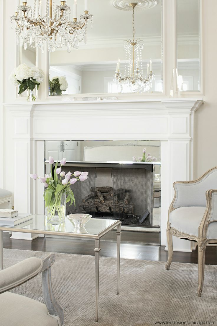 Love The Mirrors  Leo Designs Chicago   Living Rooms   French Living Room,  Inset Mirror, Fireplace Mirror, Mirror Fireplace Surround, Mirrored  Fireplace ...