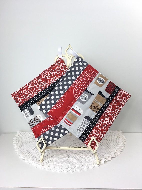 Scrappy Diva Hot Pads  Coffee Clutch Cotton Quilted Kitchen