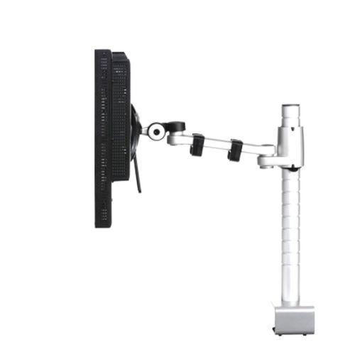 PORTA MONITORES DAISYONE Esta línea de portamonitores funciona en base a un poste de largo variable sobre el cual se puede instalar de uno a 4 porta monitores sin problema. Es multiposicional por el simple hecho de invertir la posición del brazo dejando así 2 portamonitores exactamente a la misma altura visual. Este porta monitor permite ajustar altura, inclinación y rotación en 180°.