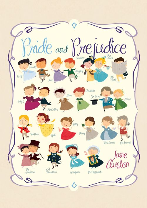 A fun and lively print filled with all off the best characters from Jane Austen's Pride and Prejudice.