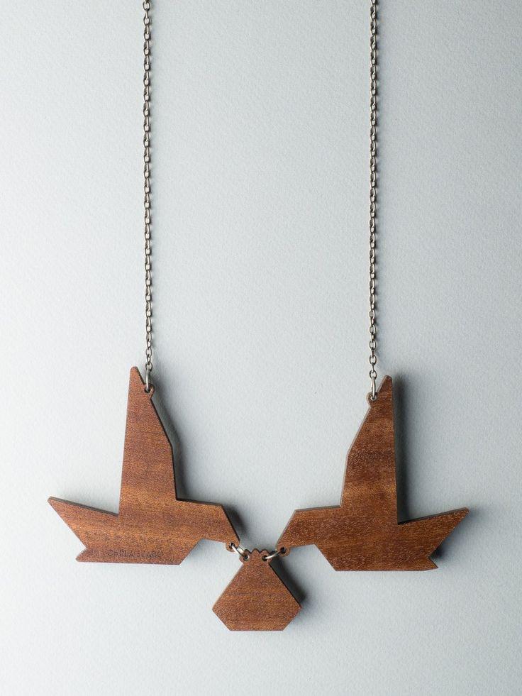 Mirror Birds Necklace - back side #jewelry #design #necklace