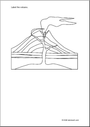 Diagram:  Volcano (unlabeled) - Simple outline drawing of an erupting volcano. Students are to draw parts and label them.