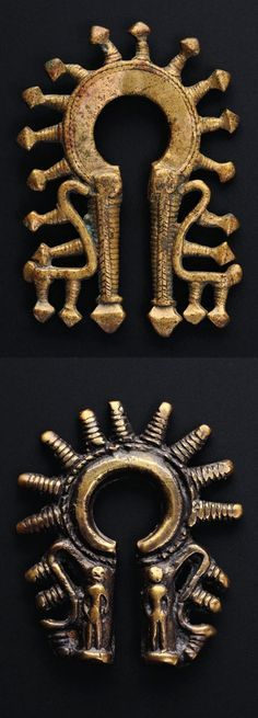Indonesia ~ Batak Toba | Omega form earrings ~ 'duri-duri' | Brass (left), Bronze (right) | Usually worn as a single earring but sometimes in pairs, they are the only gold and silver jewellery made by the Batak Toba, who traditionally prefer copper alloys. ||| Source; Ethnic Jewellery from Indonesia: Continuity and Evolution