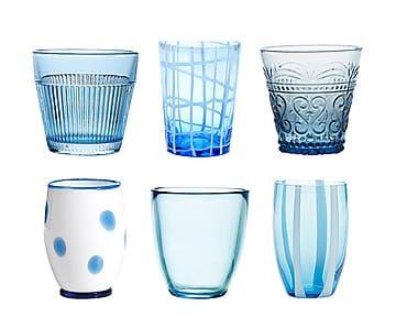 Set di 6 bicchieri acqua in vetro Melting Pot assortiti - acquamarina