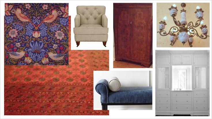 Tokaj szülői háló mood board Morris tapéta, meglévő szőnyeg, fehér szekrény, régi barna szekrény, csillár, ágyvég pad