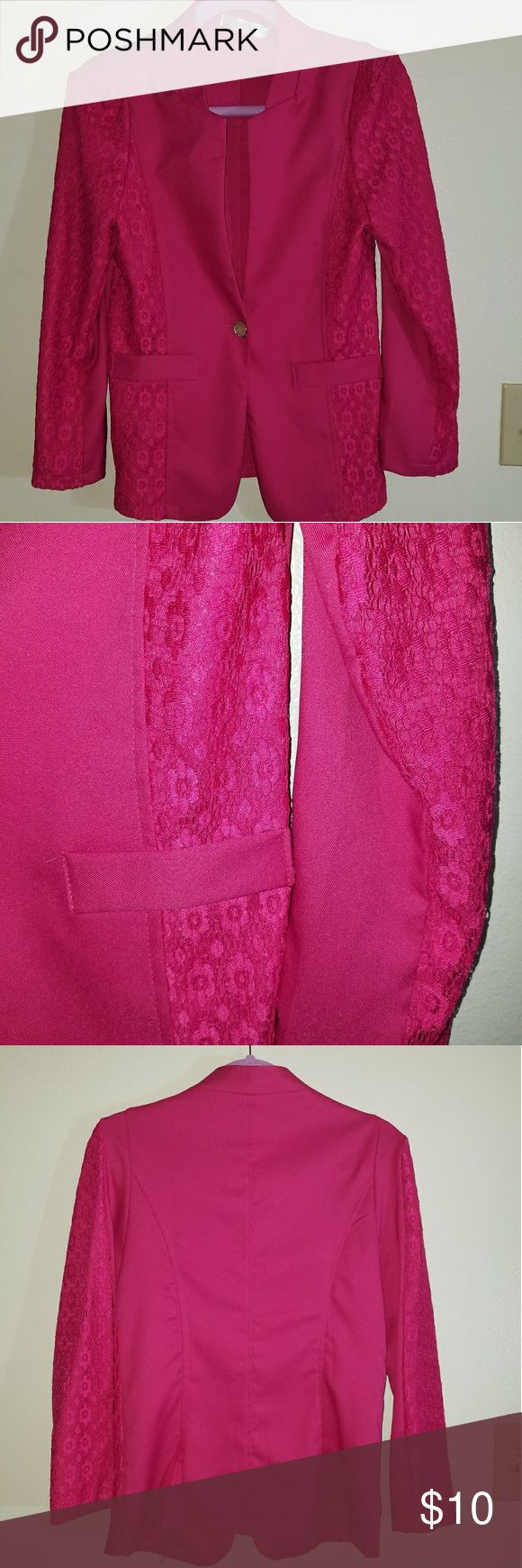 Hot pink blazer Lace embellishment down the sleeves a very flattering v-neck with a jeweled snowflake closure faux pockets on the front Jackets & Coats