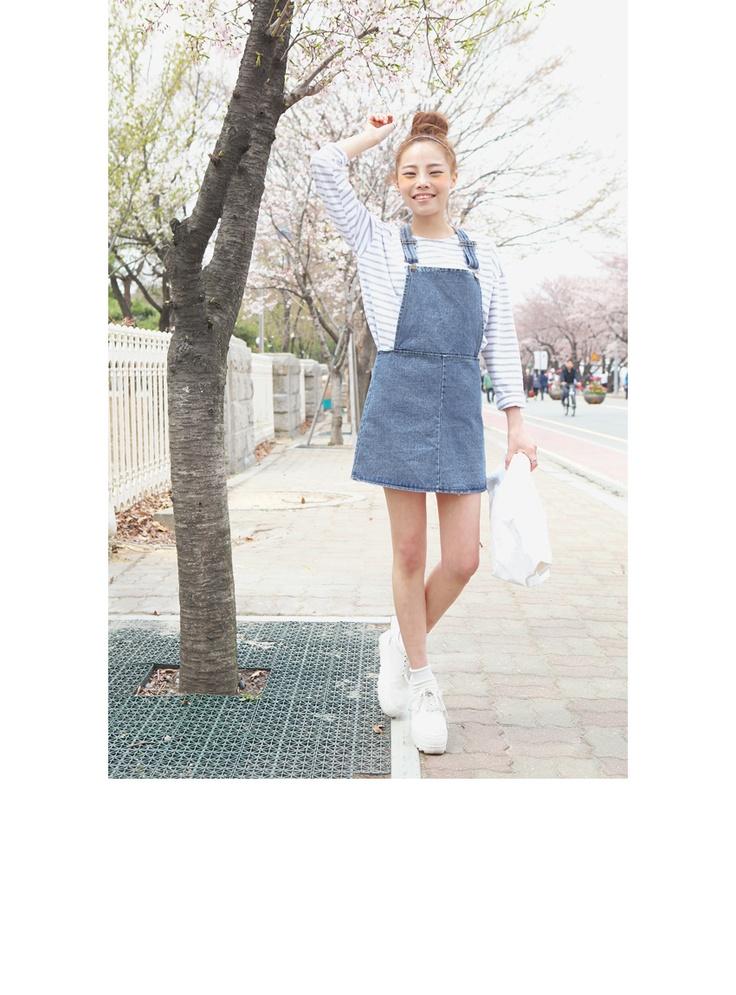 Denim Suspender Short Skirt   FashionShop【STYLENANDA】