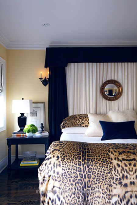 Great Beautiful headboard. The leopard cover add an interesting contrast to the dark blue and comlement the wall colour  The post  Beautiful headboard. The leopard cover add an interesting co ..