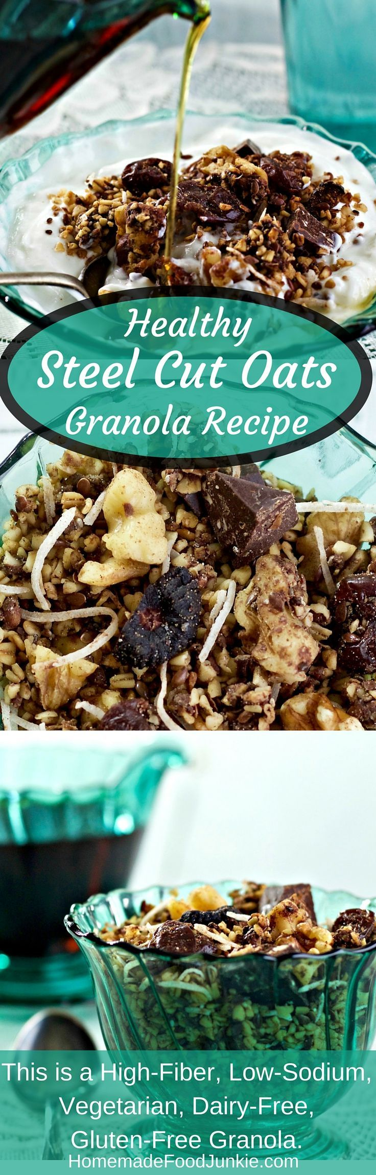 Healthy Steel Cut Oats Granola Recipe is a nutritionally balanced, chewy textured granola. I added dark chocolate chunks, dried figs, cherries, and coconut flakes. This is a High-Fiber, Low-Sodium, Vegetarian, Dairy-Free, Gluten-Free Granola. http://HomemadeFoodjunkie.com