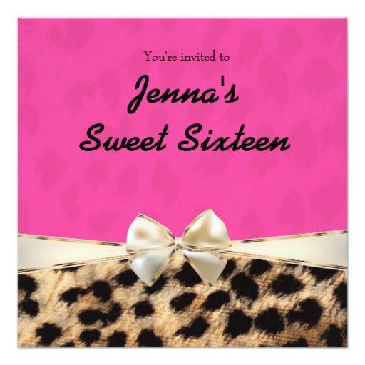 Leopard Cheetah Pink Bow Birthday Party Invitation