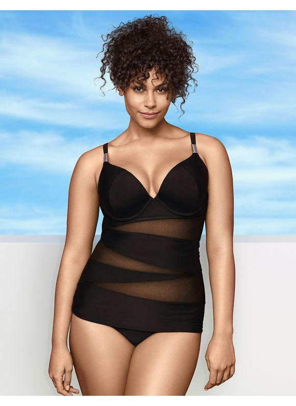 illusion swim tank with bra #plussize #fatkini #swimsuit