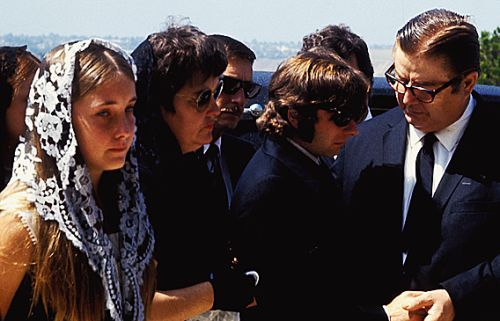 Roman Polanski, Doris Tate and Patti Tate attending Sharon Tate's funeral on August 13, 1969
