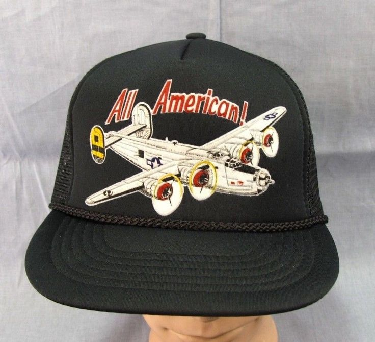 B-24 Liberator All American Hat Adjustable Cap Vintage Snapback Black Mesh Plane #TheColtingsFoundation #BaseballCap