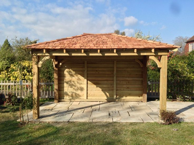 Wooden Gazebo 3m X 3m Car Port With Cedar Shingles Built