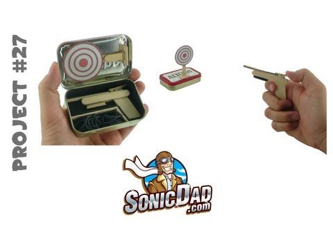 This cool mini-sized rubberband gun was inspired by the wildly popular full-sized gun that we released several projects ago.  This miniature version fits snuggly inside a custom case that you make from an empty Altoids tin! Project #27 at SonicDad.com