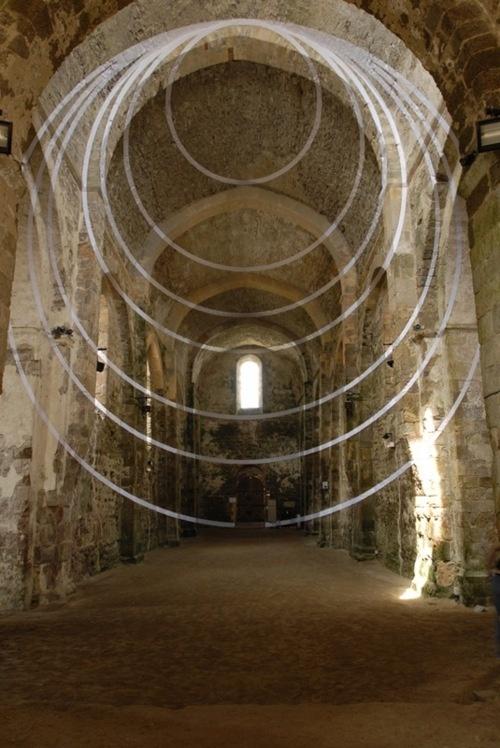 Sept Couronnes Excentriques, Abbaye Saint-Jean d'Orbestier, Le Château d'Olonne, France byFelice Varini (2006)