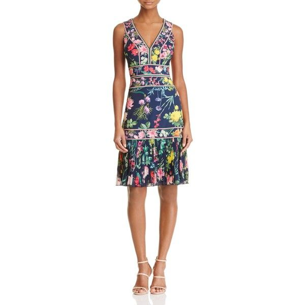 Tadashi Shoji Floral Cocktail Dress (570 AUD) ❤ liked on Polyvore featuring dresses, navy floral, floral dresses, night out dresses, floral cocktail dresses, cocktail party dress and tadashi shoji dresses