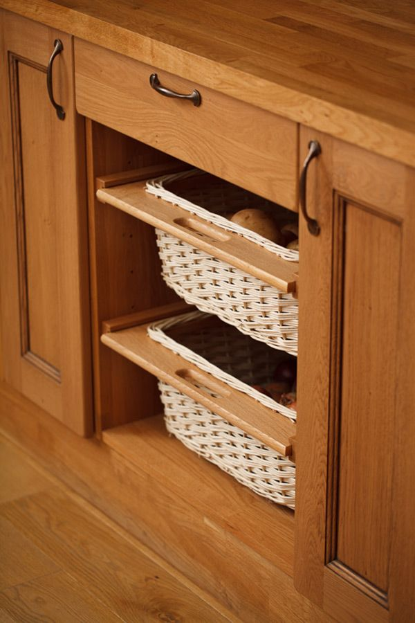 A Set Of Two Wicker Baskets With Oak Surrounds To Suit Either Or Wide  Kitchen Base Units   Quality Wooden Kitchens From Solid Wood Kitchen  Cabinets.