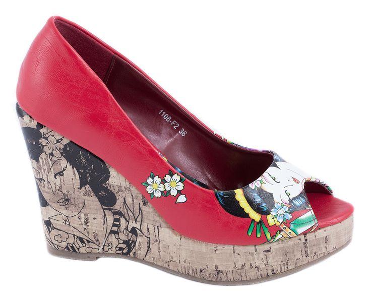 Pantofi cu platforma - Pantofi rosii cu platforma 1108-F2R - Zibra