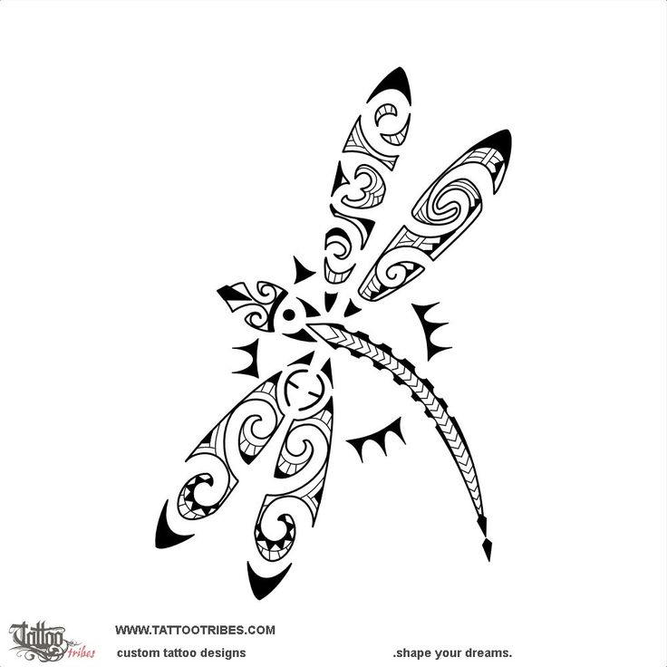 JMP dragonfly. Son. The upper left wing of this Maori styled dragonfly has the JMP letters cut out as maorigrams while the upper right one has a koru for new life and a double spiral for eternity and family. The lower wings include the[...] More at www.tattootribes.com