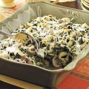 Tortellini Spinach Casserole    Ingredients  2 packages (10 ounces each) frozen cheese tortellini  1 pound sliced fresh mushrooms  1 teaspoon garlic powder  1/4 teaspoon onion powder  1/4 teaspoon pepper  1/2 cup butter, divided  1 can (12 ounces) evaporated milk  1 block (8 ounces) brick cheese, cubed  3 packages (10 ounces each) frozen chopped spDinner, Tortellini Casserole, Taste Of Home, Spinach Casseroles, Food, Casseroles Recipe, Casserole Recipes, Drinks Recipe, Tortellini Spinach
