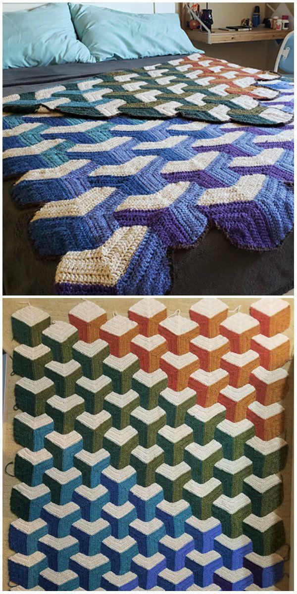 Tumbling Blocks Blanket Crochet Granny Square Afghan Crochet