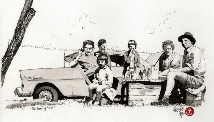 The Family Picnic in the Fifties Australia. (Artist:  Kevin Rogers)
