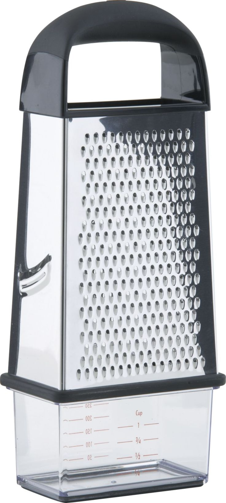 OXO® Box Grater  | Crate and Barrel Something like this I could really use.  Calliflower, or cheese...I like the catch at the bottom.  hopefully I could find one with different size holes...