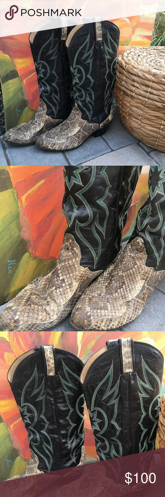 Tony Lama boots 8.5 snakeskin Tony Lama boots 8.5 snakeskin/some wear/ or curling of natural snakeskin/ please see pic for condition... adorable Tony Lama Shoes