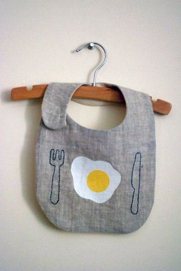 good morning bib by yorikoNewYork on Etsy, $20.00  Eggies lives on love this