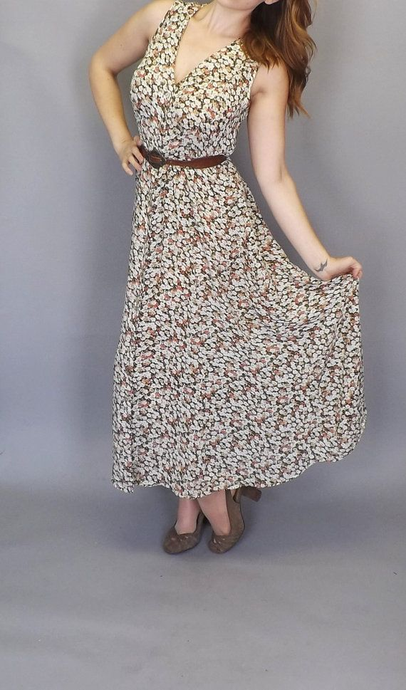 Vintage 1990s Rose Floral Express Maxi Dress by alicksandraflin