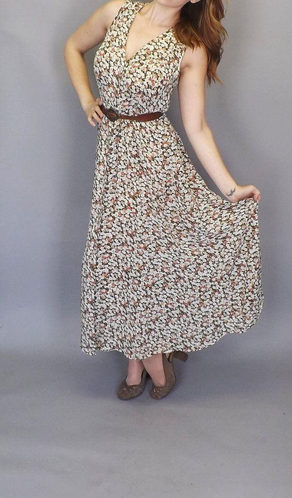 Vintage 1990s Rose Floral Express Maxi Dress by alicksandraflin