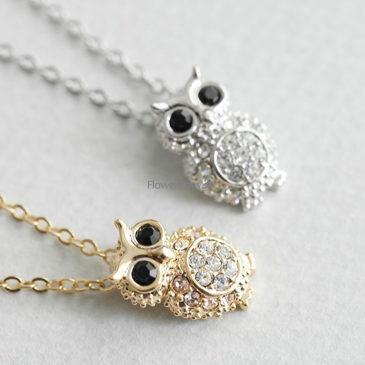 Crystals Owl necklace