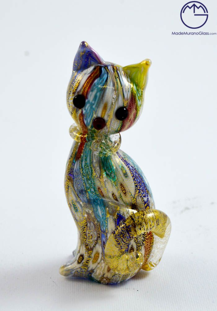 #Cat #Murano #collection #animal, that represent a magnificent cat with #Murrina Millefiori and decorations in gold #24ct. Completely handcrafted by Murano artisans.--- #Gatto #vetro #Murano