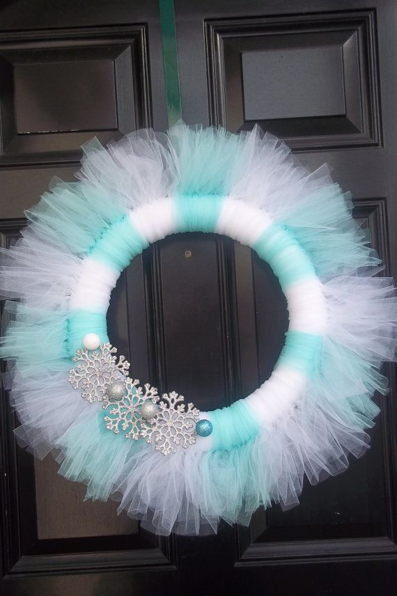 Winter snowflake tulle wreath on Etsy, $45.00   trade white with lime green