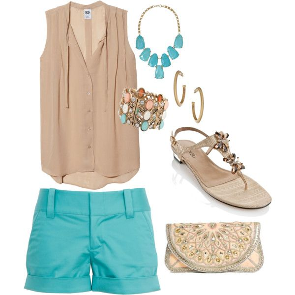 """Love the color combo, love the style!   """"neutral & terquoise"""" by itsjustme247 on Polyvore"""