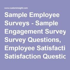Sample Employee Surveys - Sample Engagement Survey Questions, Employee Satisfaction Questionnaire