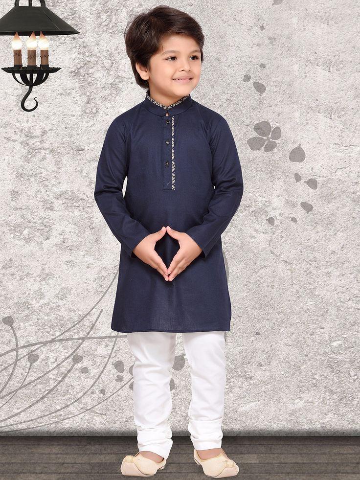 Plain Navy Cotton Silk Kurta Suit