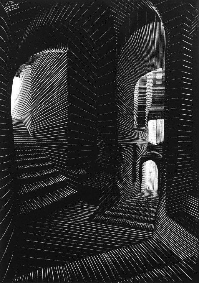 Covered Alley in Atrani, 1931by M.C. EscherWood engraving