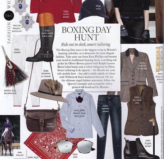 Town & Country Magazine's Boxing Day Hunt style guide featuring our Mink Festival Fedora (Winter 2015).