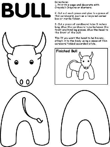 Bull coloring page for ferdinand row.