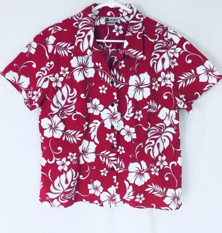 Aloha Republic Women's XL Hawiian Shirt Red White Made in Hawaii USA Cotton   | eBay
