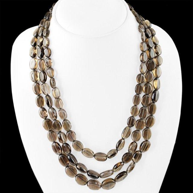 Genuine 530.00 Cts Smoky Quartz 3 Lines Beads Necklace  smokey quartz  beads, gemstone necklace