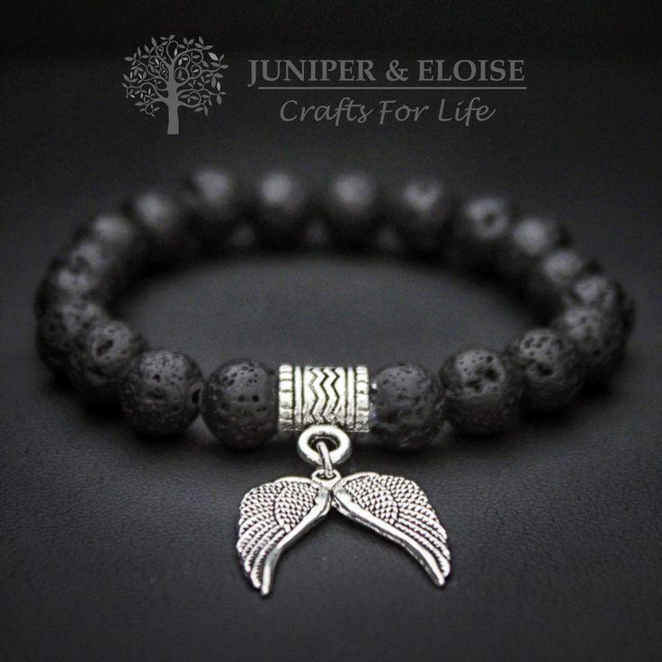 Unisex Stretch Bracelet , 8mm Black Lava Stone, Wings Charm, Stone Bracelet, Mens Bracelet, Black Wings, Bracelet For Men , For Women by JUNIPERANDELOISE on Etsy