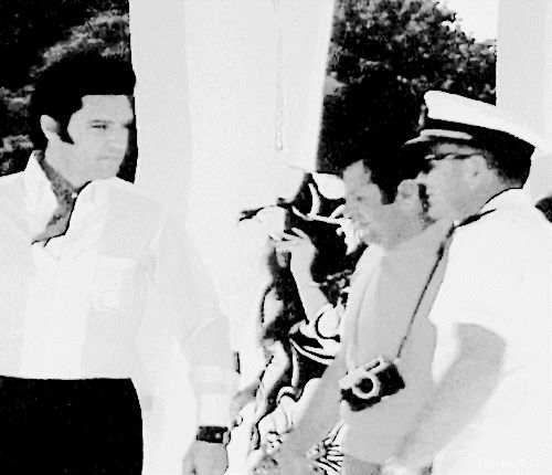 "ladypresley: ""Elvis and Priscilla Presley with friends at the USS Arizona Memorial in Oahu, Hawaii, May 27, 1968. """