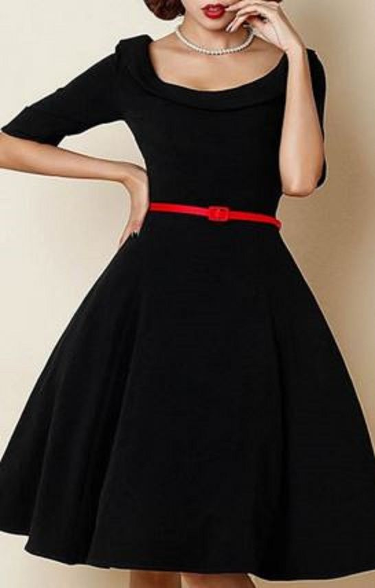 Classic Red and Black Retro Style Scoop Neck 1/2 Sleeve Solid Color Ball Gown Dress For Women #Red #Black #Retro #Style #Holiday #Party #Dress #Fashion